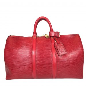 LOUIS VUITTON KEEPALL 45 REISETASCHE AUS EPI LEDER IN CASTILLIAN ROT