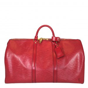 LOUIS VUITTON KEEPALL 50 REISETASCHE AUS EPI LEDER IN CASTILLIAN ROT