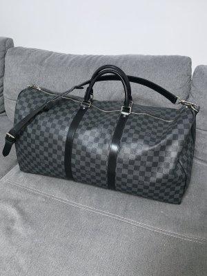 Louis Vuitton Keepall 55 mit Schulterriemen Damier Graphite Canvas Schwarz Grau