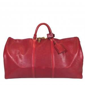 LOUIS VUITTON KEEPALL 55 REISETASCHE AUS EPI LEDER IN CASTILLIAN ROT