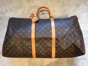 Louis Vuitton Borsa da viaggio marrone chiaro-marrone scuro Lino