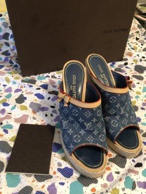 Louis Vuitton Wedge Sandals cornflower blue-camel