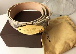 * LOUIS VUITTON * LEDER GÜRTEL Damier Voyage SCHLIESSE GOLD OVAL Box & Staub. 85
