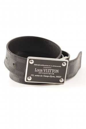 Louis Vuitton Leather Belt black-dark grey check pattern elegant