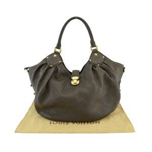 Louis Vuitton Sac porté épaule gris brun cuir