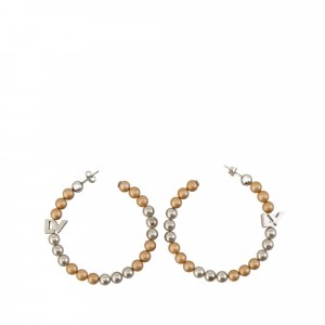 Louis Vuitton Metallic Faux Pearl Hoop Earrings