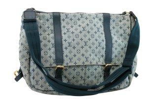 Louis Vuitton Sac porté épaule bleu fibre textile