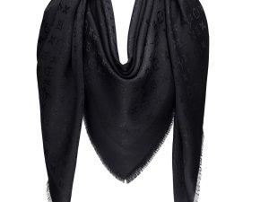 Louis Vuitton Monoglam LV Seide Wolle Elegant Style Schwarz Schal TUCH