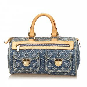 Louis Vuitton Sac à main bleu coton