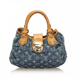Louis Vuitton Sac à main bleu coton