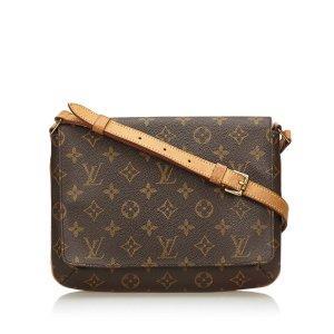 Louis Vuitton Sac porté épaule brun foncé