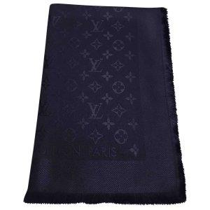 Louis Vuitton Bufanda de punto azul Seda