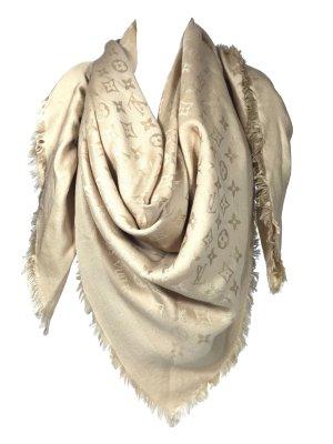 Louis Vuitton Monogram Tuch Schal Wolle Seide Beige Dune Stola