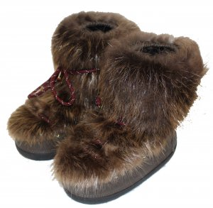 Louis Vuitton Bottes de neige brun foncé fourrure