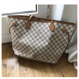 Louis Vuitton Neverfull MM Azur Shopper Tasche Canvas Top