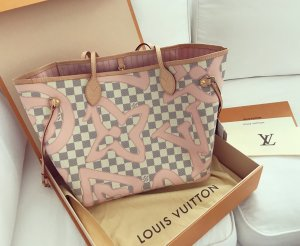 Louis Vuitton Neverfull Tahitienne Shopper Tasche Azur Rosa Rose Ballerine