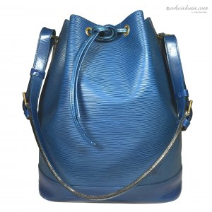 Louis Vuitton Sac à main bleu-doré cuir
