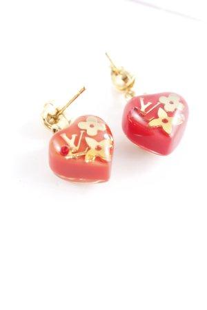 Louis Vuitton Ohrstecker goldfarben-rot Herzmuster Elegant