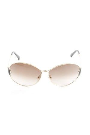 Louis Vuitton ovale Sonnenbrille goldfarben-schwarzbraun Logoprägung
