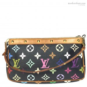 LOUIS VUITTON POCHETTE ACCESSOIRES CLUTCH AUS MONOGRAM MULTICOLOR CANVAS IN SCHWARZ
