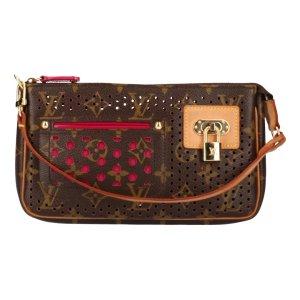Louis Vuitton Pochette Accessoires Clutch aus Monogram Perforated Canvas in Fuchsia Tasche Handtasche