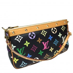 Louis Vuitton Pochette Accessoires Monogram Multicolore Schwarz Clutch Tasche