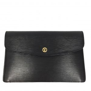LOUIS VUITTON POCHETTE MONTAIGNE CLUTCH AUS EPI LEDER IN KOURIL SCHWARZ