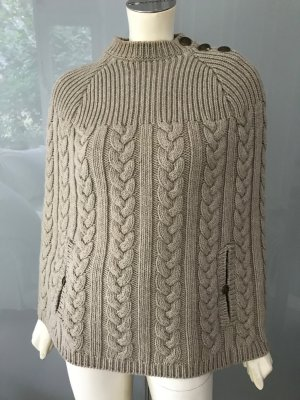 Louis Vuitton Poncho Pullover Beige Braun Wolle 36 S Wool Cape Cable Knit Brown
