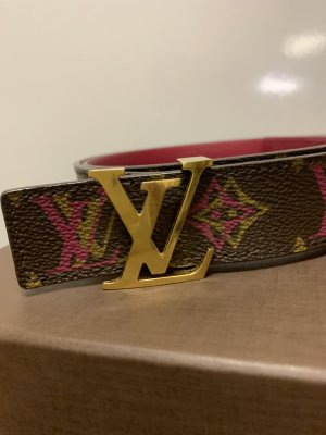 Louis Vuitton Cinturón de lona rosa-marrón