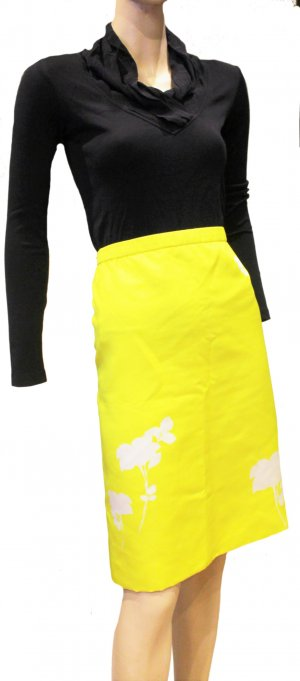 Louis Vuitton Pencil Skirt yellow silk