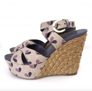 LOUIS VUITTON Sandalen 38-39 Lila Pink Keilabsatz Bast Beige Wedges Dust Bag TOP