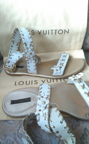 Louis Vuitton Sandalias blanco-color oro
