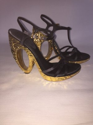 Louis Vuitton High-Heeled Sandals black-gold-colored suede