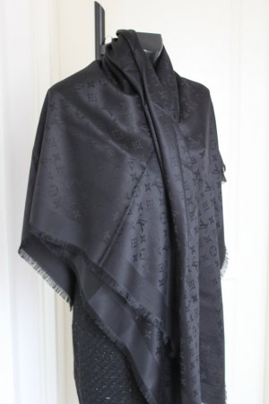 Louis Vuitton Schall Scarf Cashmir Wolle schwarz 140 x 140 neu