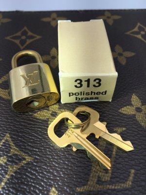 Louis Vuitton Schloss mit 2 Schlüsseln No. 313 Metall Messing farbend
