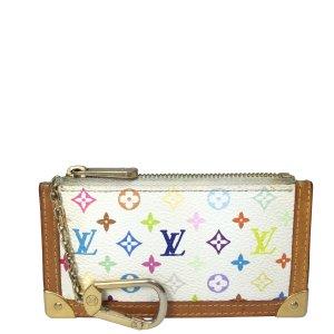 Louis Vuitton Schlüsseletui Geldbörse aus Monogram Multicolore Canvas in Weiss