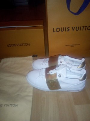 Louis Vuitton Zapatillas con tacón blanco-color oro Cuero