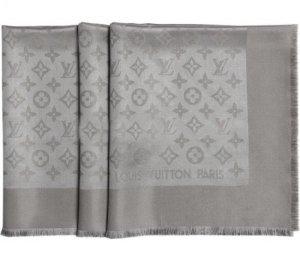 Louis Vuitton Bufanda de punto blanco Seda