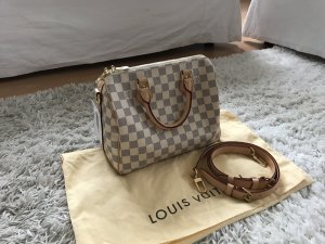 Louis Vuitton Speedy 25 Azur Bandouliere Handtasche Top Canvas Riemen