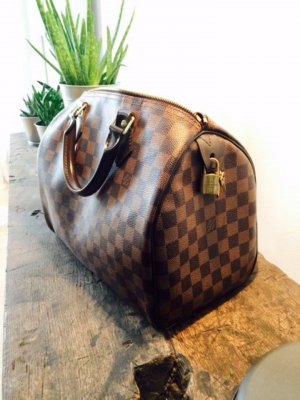 Louis Vuitton Carry Bag bronze-colored-black leather