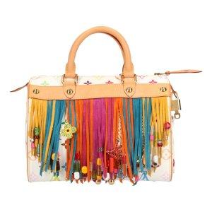 Louis Vuitton Speedy 25 Monogram Multicolore Fringe Canvas Tasche, Handtasche, Henkeltasche