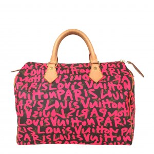 LOUIS VUITTON SPEEDY 30 HENKELTASCHE AUS MONOGRAM GRAFFITI CANVAS IN PINK
