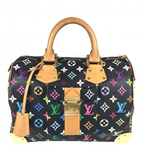 LOUIS VUITTON SPEEDY 30 HENKELTASCHE AUS MONOGRAM MULTICOLORE CANVAS IN SCHWARZ