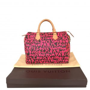 Louis Vuitton Speedy 30 Monogram Graffiti Canvas Tasche Handtasche Pink