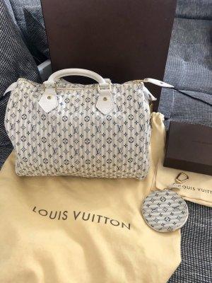 Louis Vuitton Speedy 30 Monogram Mini Lin Croisette bleu mit Anhänger