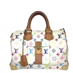 Louis Vuitton Speedy 30 Monogram Multicolore Canvas Weiss Tasche Handtasche