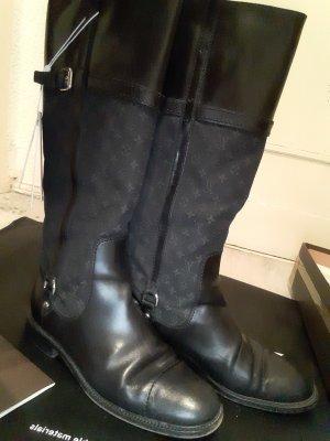 Louis Vuitton Stiefel Boots Schwarz Gr.40,5 Denim + Leder