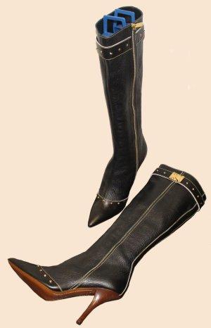 LOUIS VUITTON STIEFEL Model SUHALI schwarz Leder auffällig Gr. 38,5
