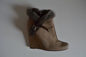 Louis Vuitton Wedge Booties sand brown leather