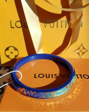 LOUIS VUITTON tropical blue green gold Resin Bracelet bangle Armreif M Monogram